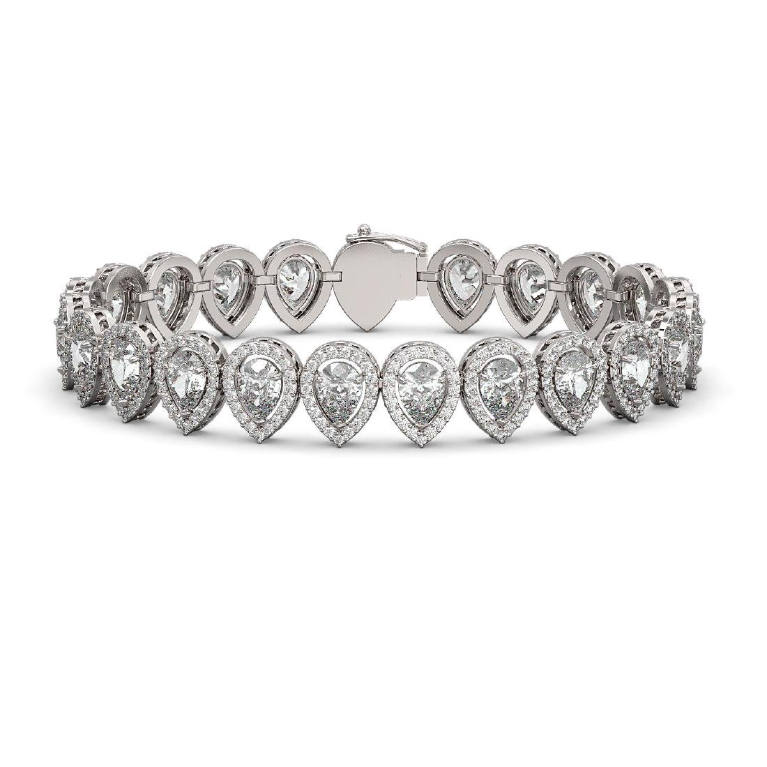 15.85 CTW Pear Diamond Designer Bracelet 18K White Gold