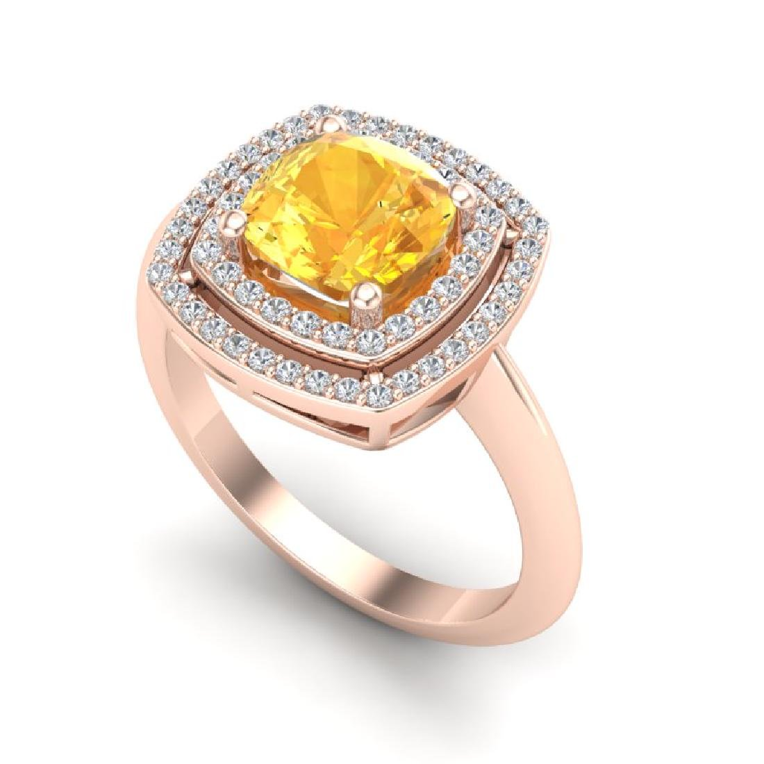 1.77 CTW Citrine & Micro VS/SI Diamond Pave Halo Ring - 2