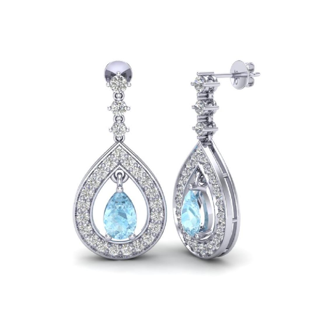2.25 CTW Aquamarine & Micro Pave VS/SI Diamond Earrings - 2