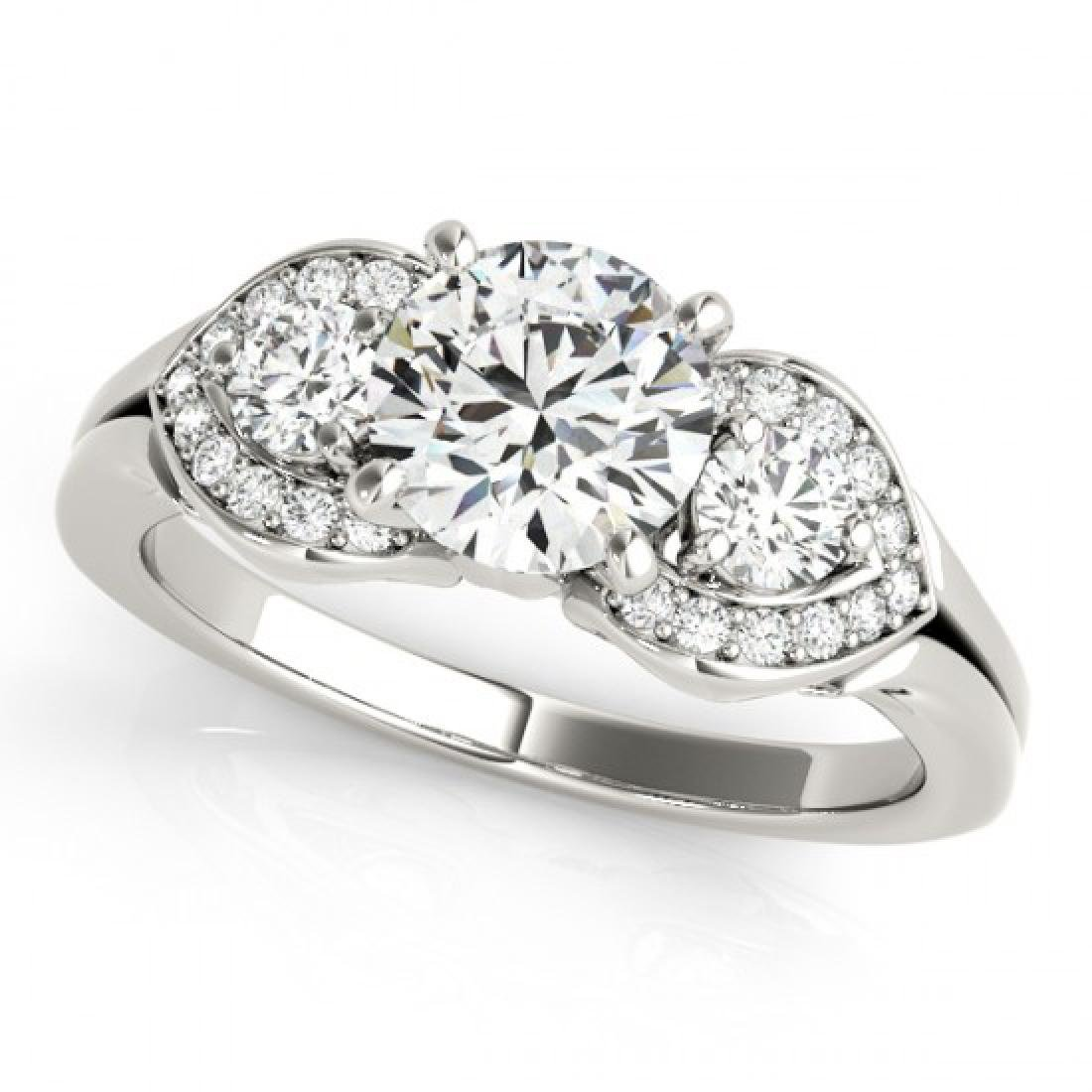 1.7 CTW Certified VS/SI Diamond 3 Stone Ring 14K White