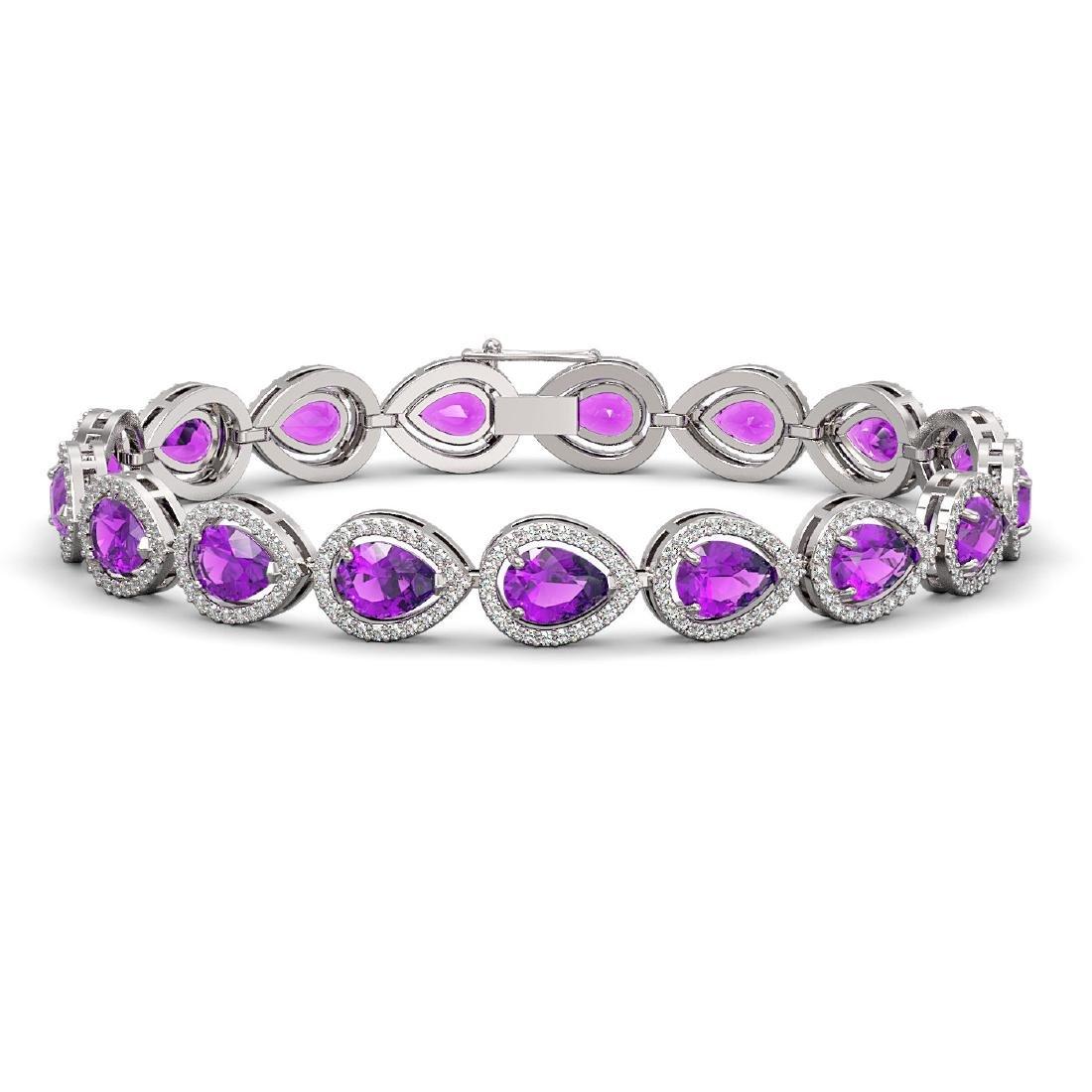 16.76 CTW Amethyst & Diamond Halo Bracelet 10K White