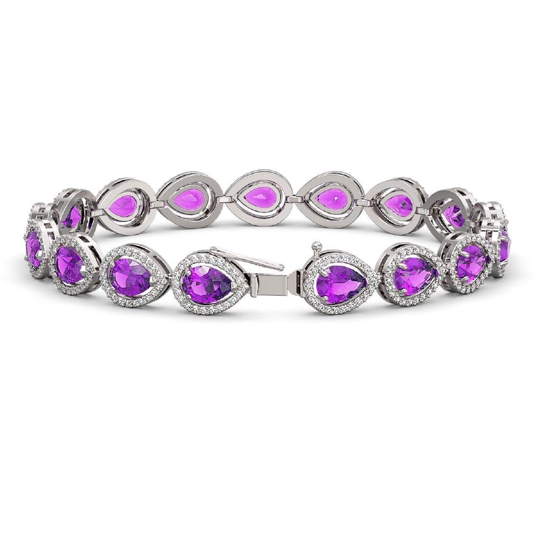 16.76 CTW Amethyst & Diamond Halo Bracelet 10K White - 2