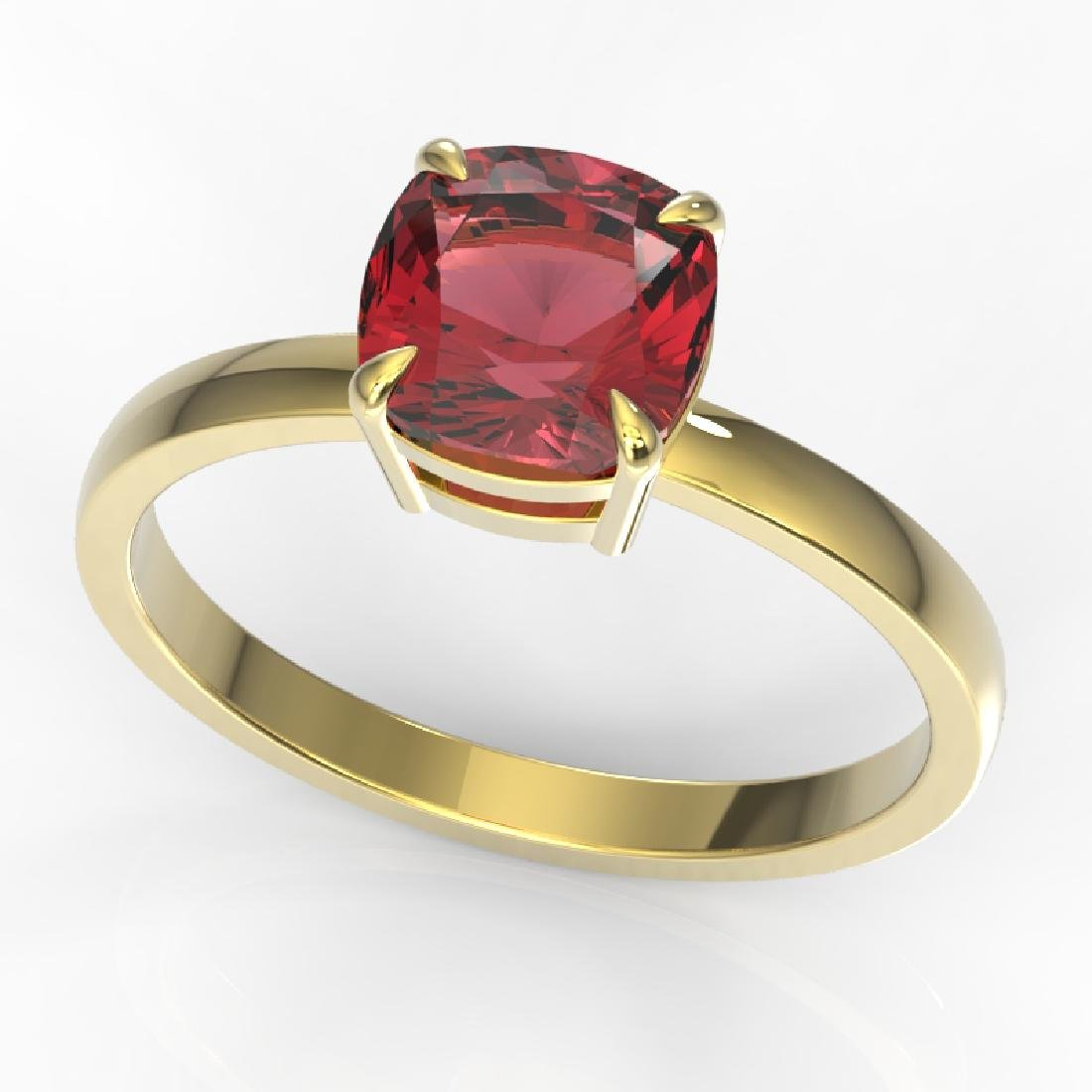 2 CTW Cushion Cut Pink Tourmaline Solitaire Engagement - 2