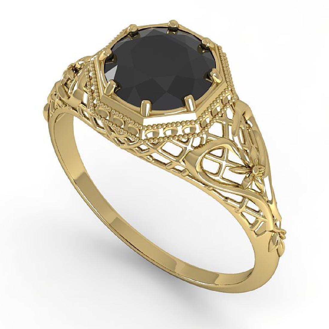 1.50 CTW Black Certified Diamond Ring Art Deco 14K - 2