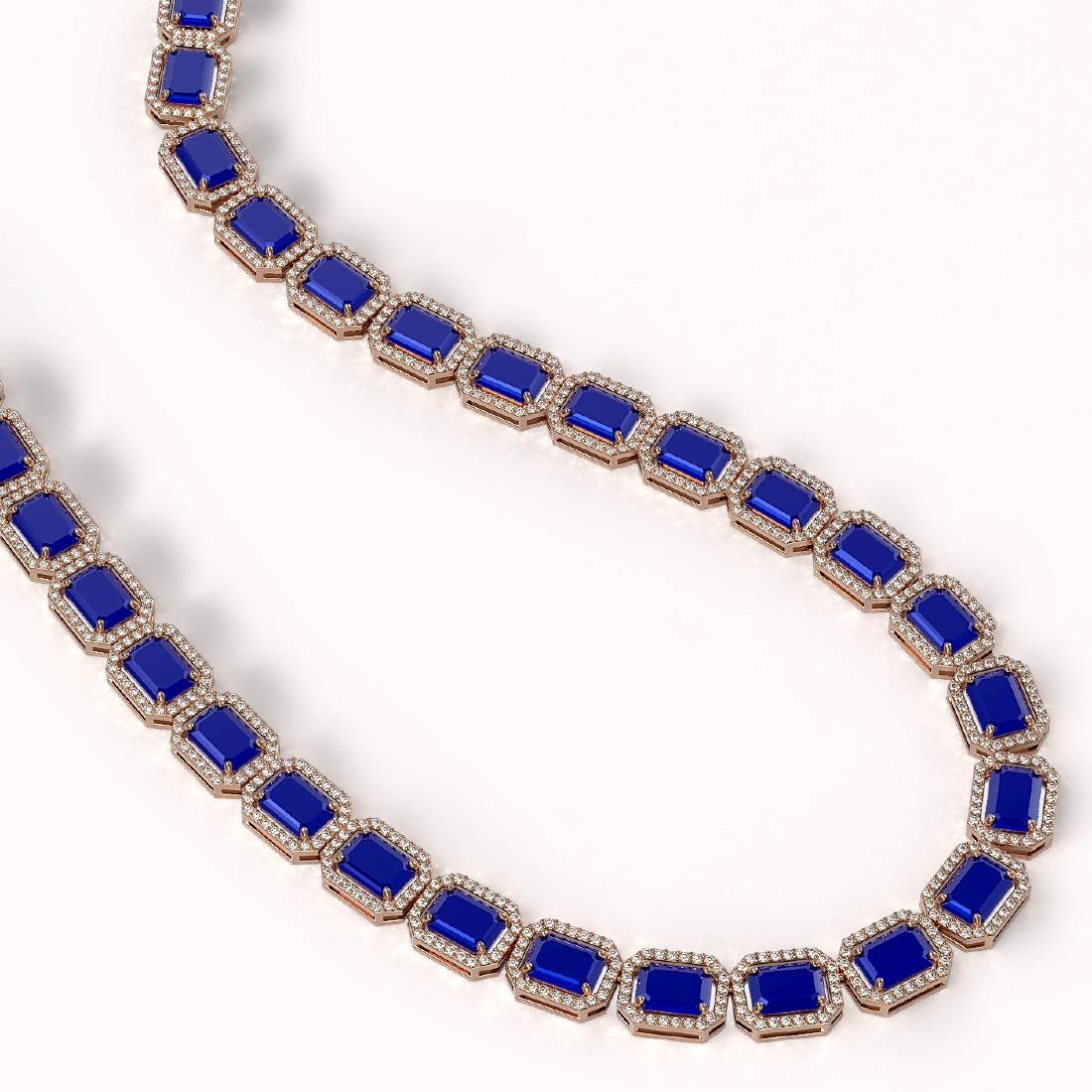 58.59 CTW Sapphire & Diamond Halo Necklace 10K Rose - 2