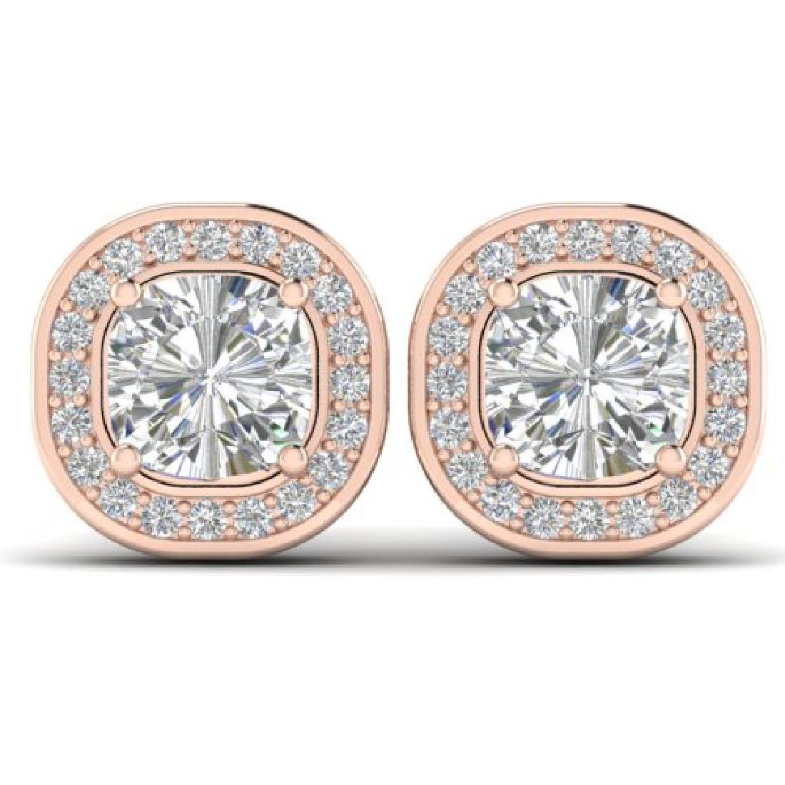 2 CTW Cushion Cut Certified VS/SI Diamond Art Deco Stud