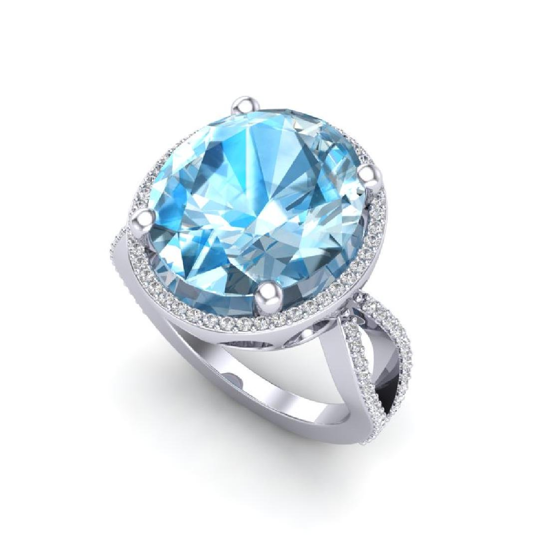 12 CTW Sky Blue Topaz & Micro Pave VS/SI Diamond Halo - 2