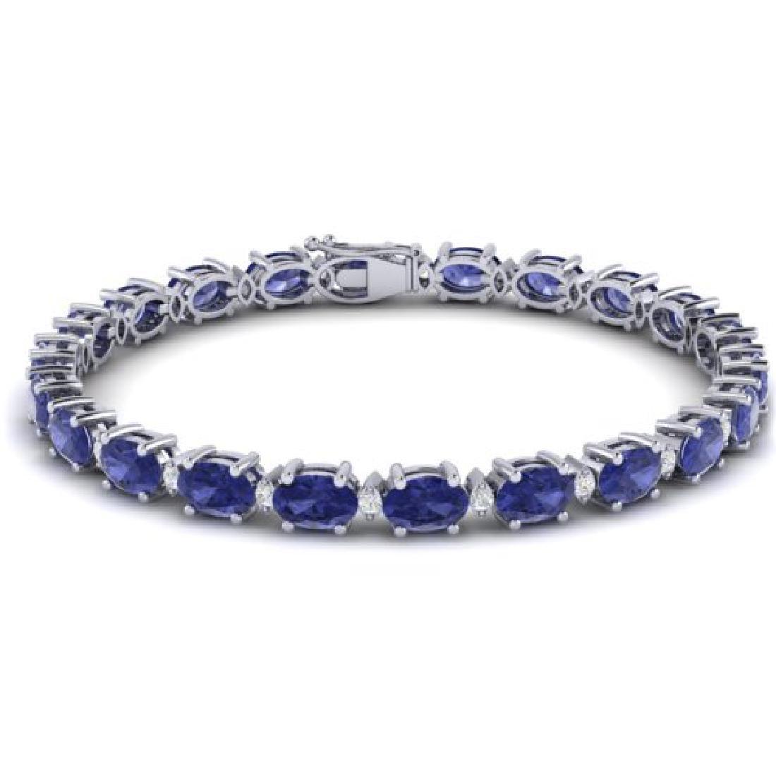 15 CTW Tanzanite & VS/SI Diamond Eternity Bracelet 10K - 2