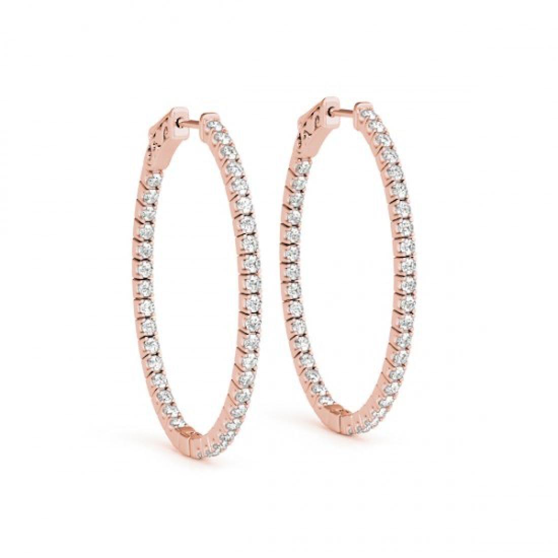 2.25 CTW Diamond VS/SI Certified 37 Mm Hoop Earrings - 2