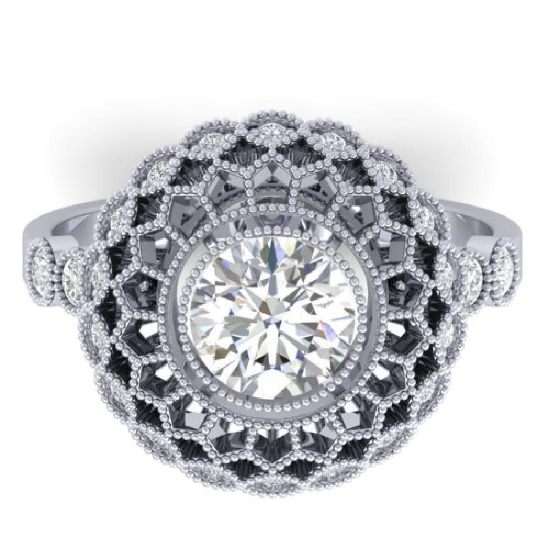 1.5 CTW Certified VS/SI Diamond Art Deco Ring 18K White