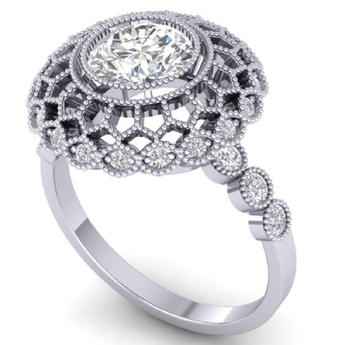 1.5 CTW Certified VS/SI Diamond Art Deco Ring 18K White - 2