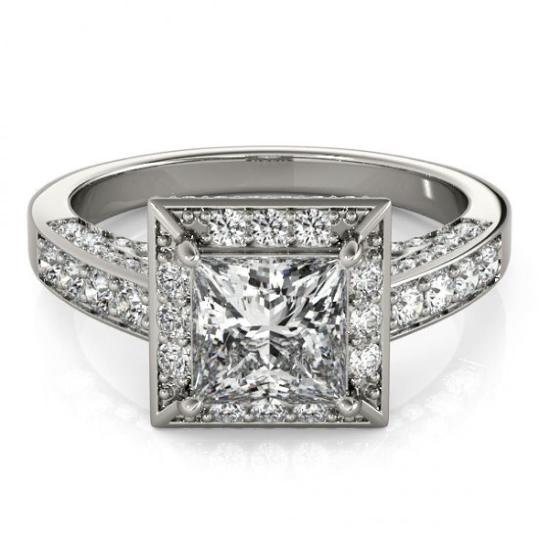 2.1 CTW Certified VS/SI Princess Diamond Solitaire Halo