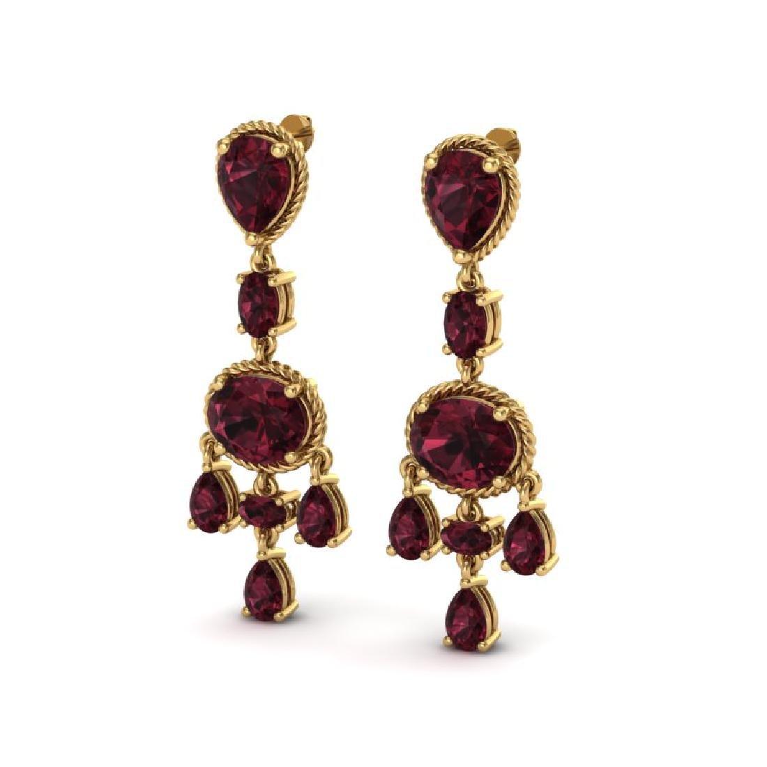 16 CTW Garnet Earrings Designer Vintage 10K Yellow Gold