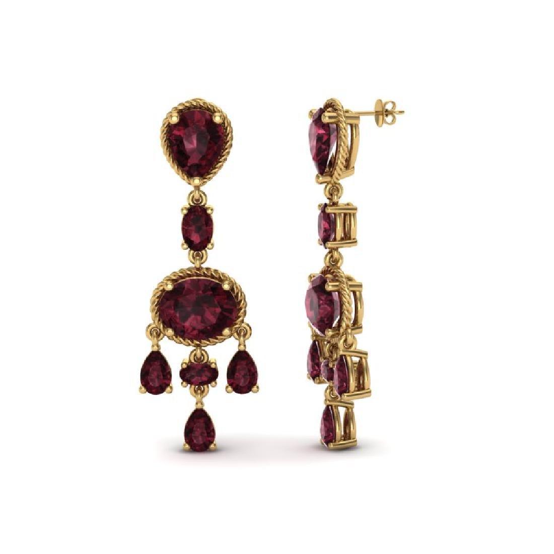 16 CTW Garnet Earrings Designer Vintage 10K Yellow Gold - 2