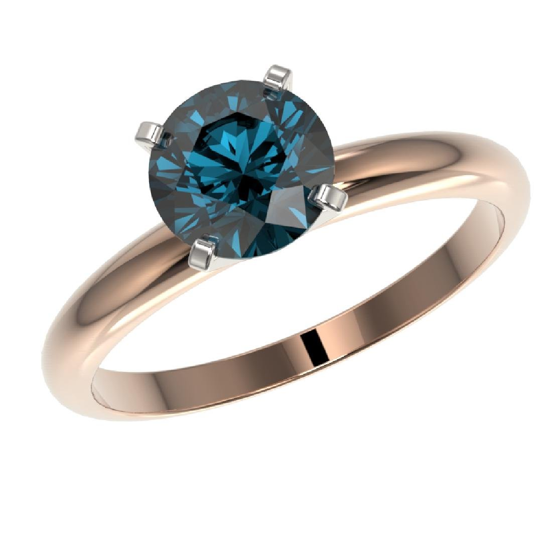 1.47 CTW Certified Intense Blue SI Diamond Solitaire - 2