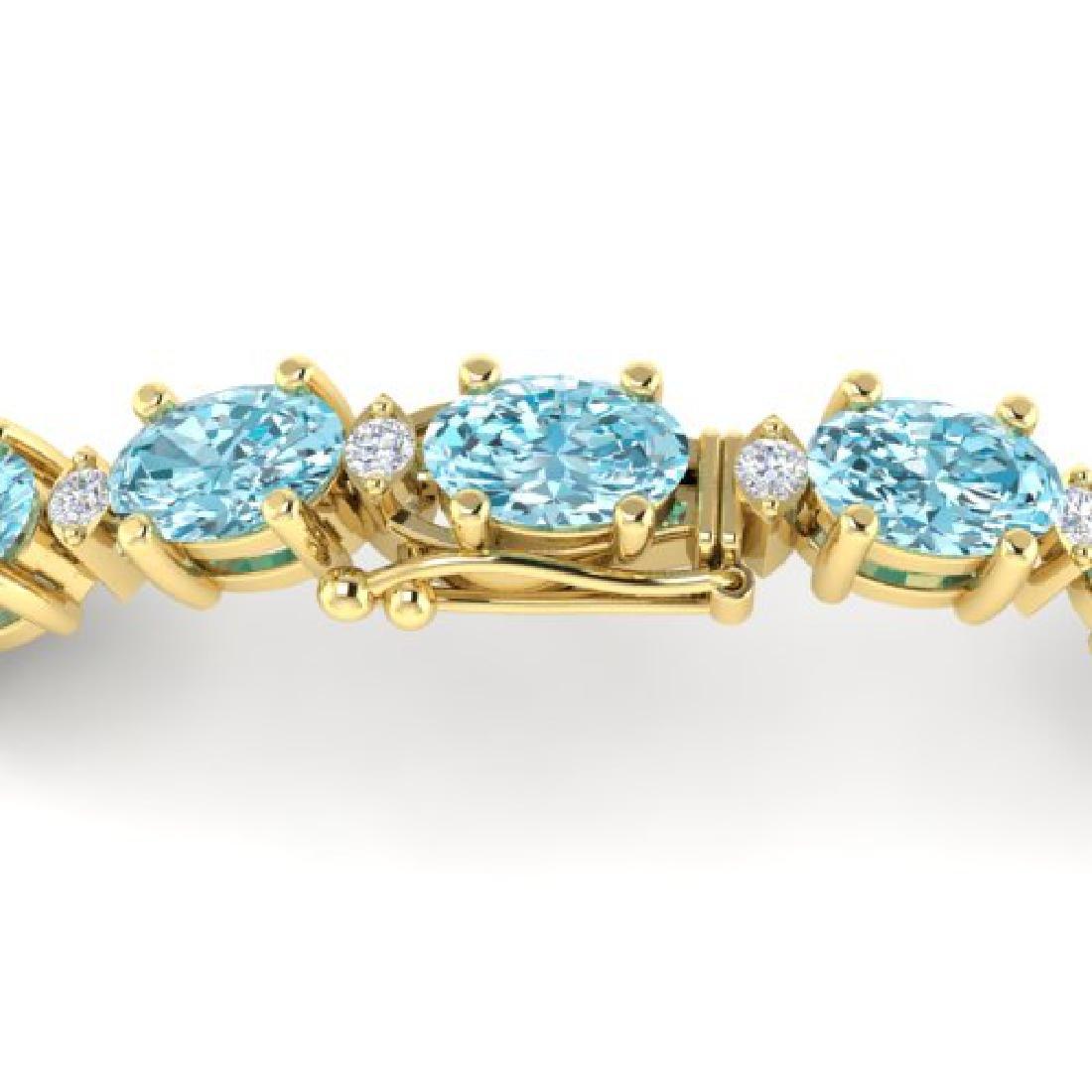 14 CTW Sky Blue Topaz & VS/SI Diamond Eternity Bracelet