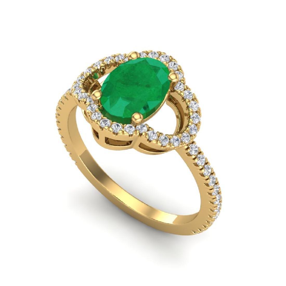 2 CTW Emerald & Micro Pave VS/SI Diamond Ring 10K - 2