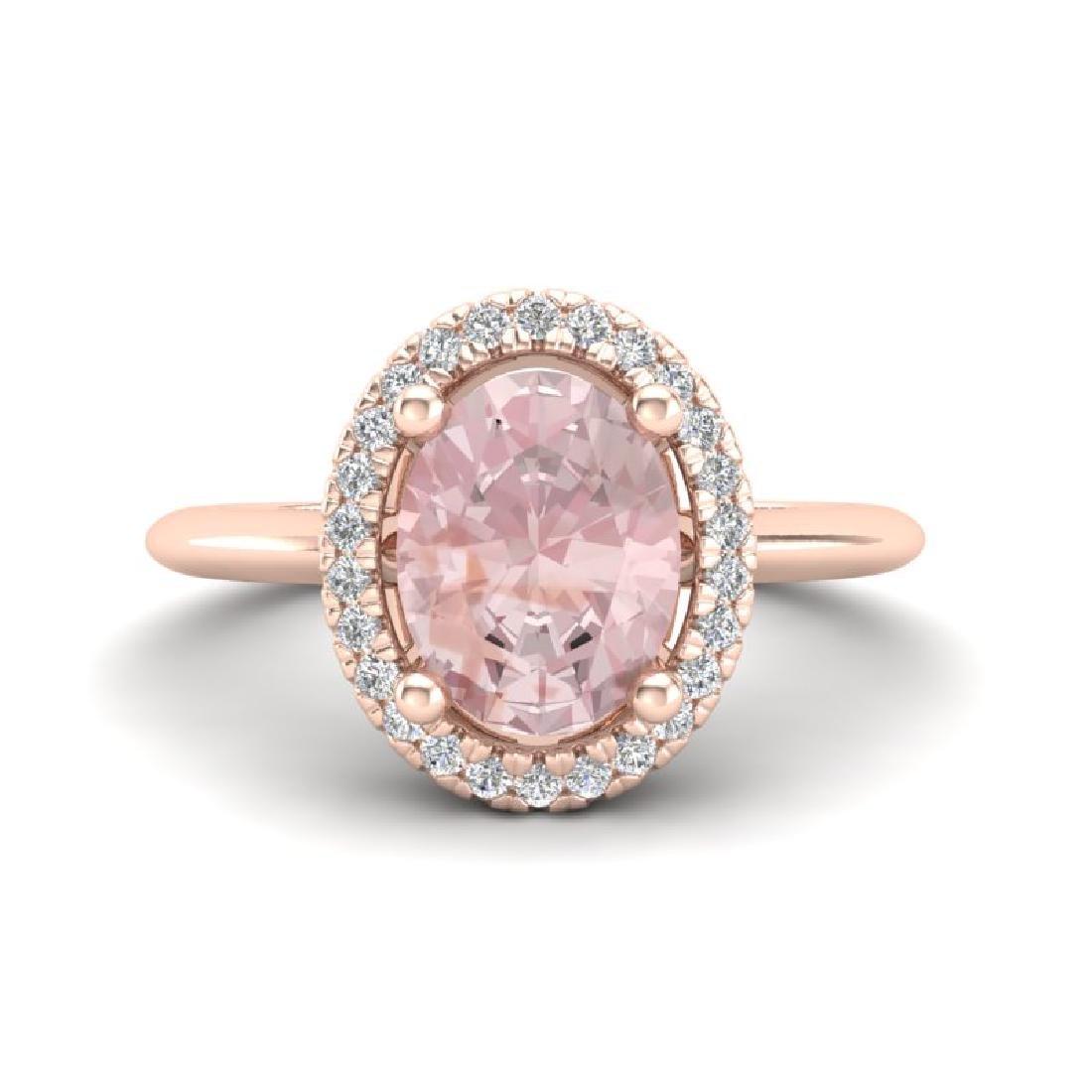 1.50 CTW Morganite & Micro VS/SI Diamond Ring Halo 14K