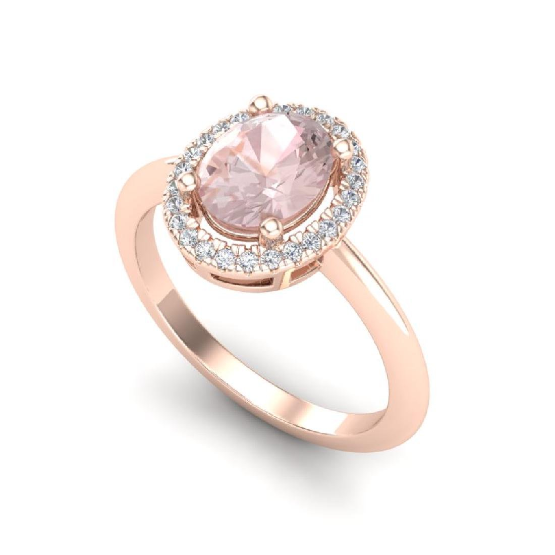 1.50 CTW Morganite & Micro VS/SI Diamond Ring Halo 14K - 2