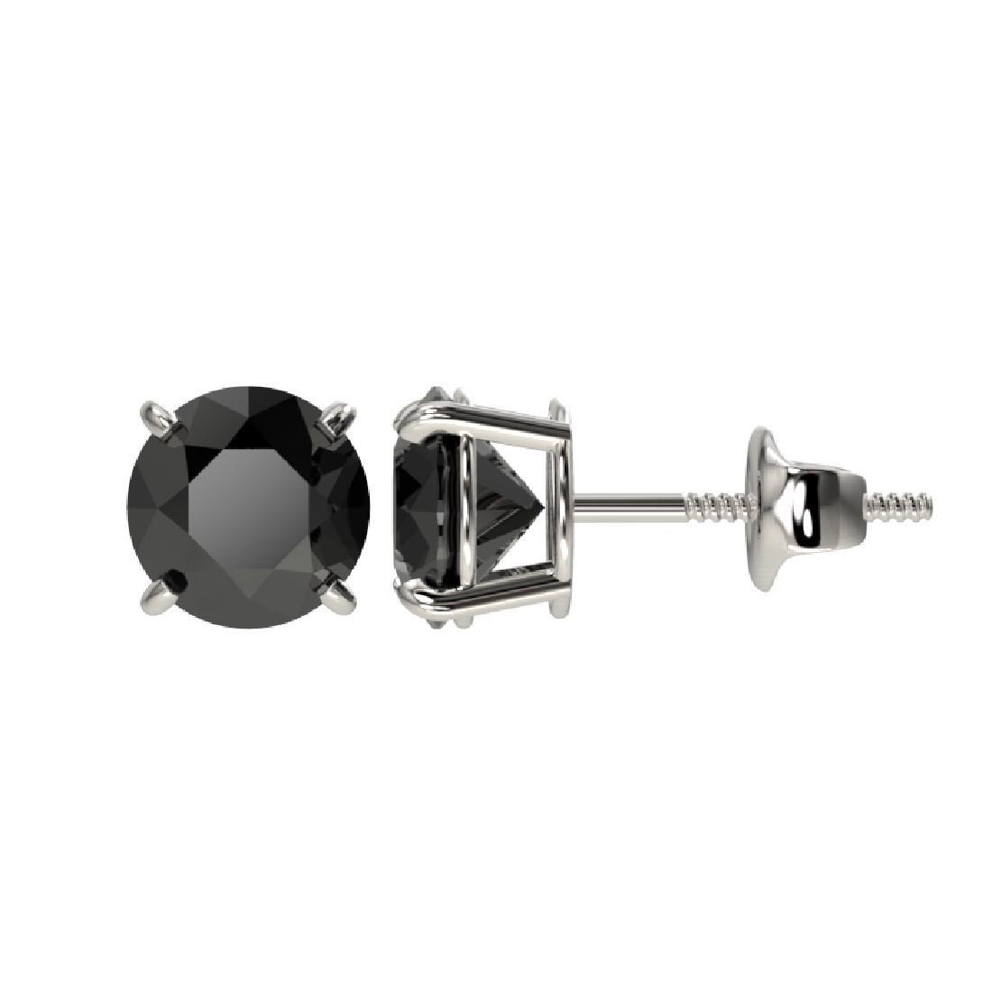 1.50 CTW Fancy Black VS Diamond Solitaire Stud Earrings - 2