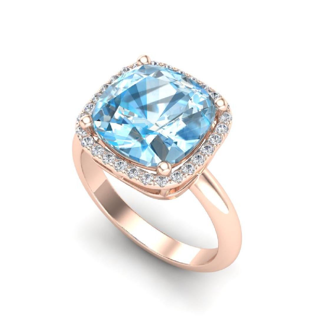 6 CTW Sky Blue Topaz & Micro Pave Halo VS/SI Diamond - 2