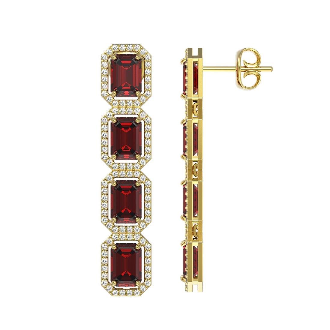 12.73 CTW Garnet & Diamond Halo Earrings 10K Yellow - 2