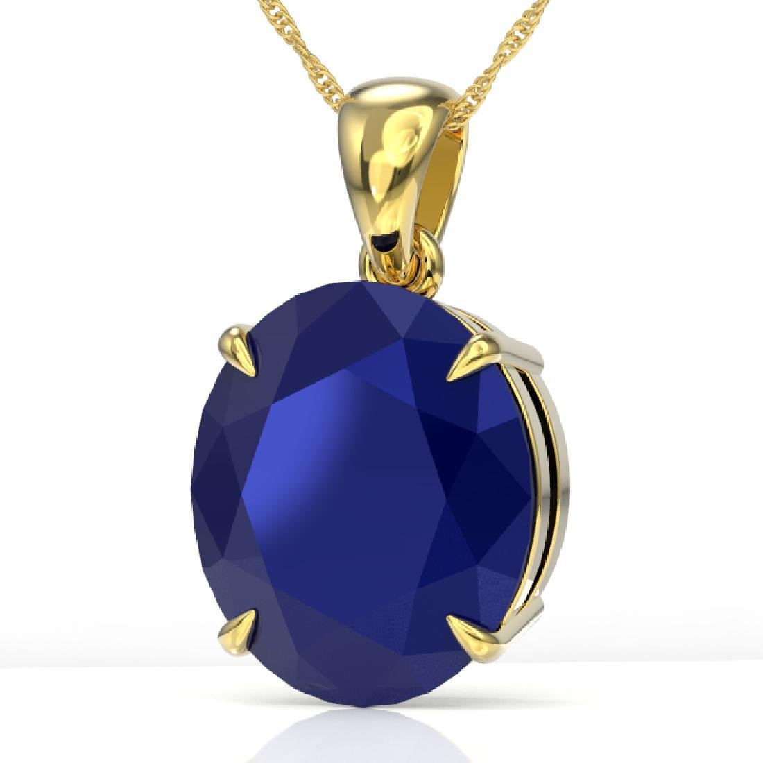 9 CTW Sapphire Designer Solitaire Necklace 18K Yellow
