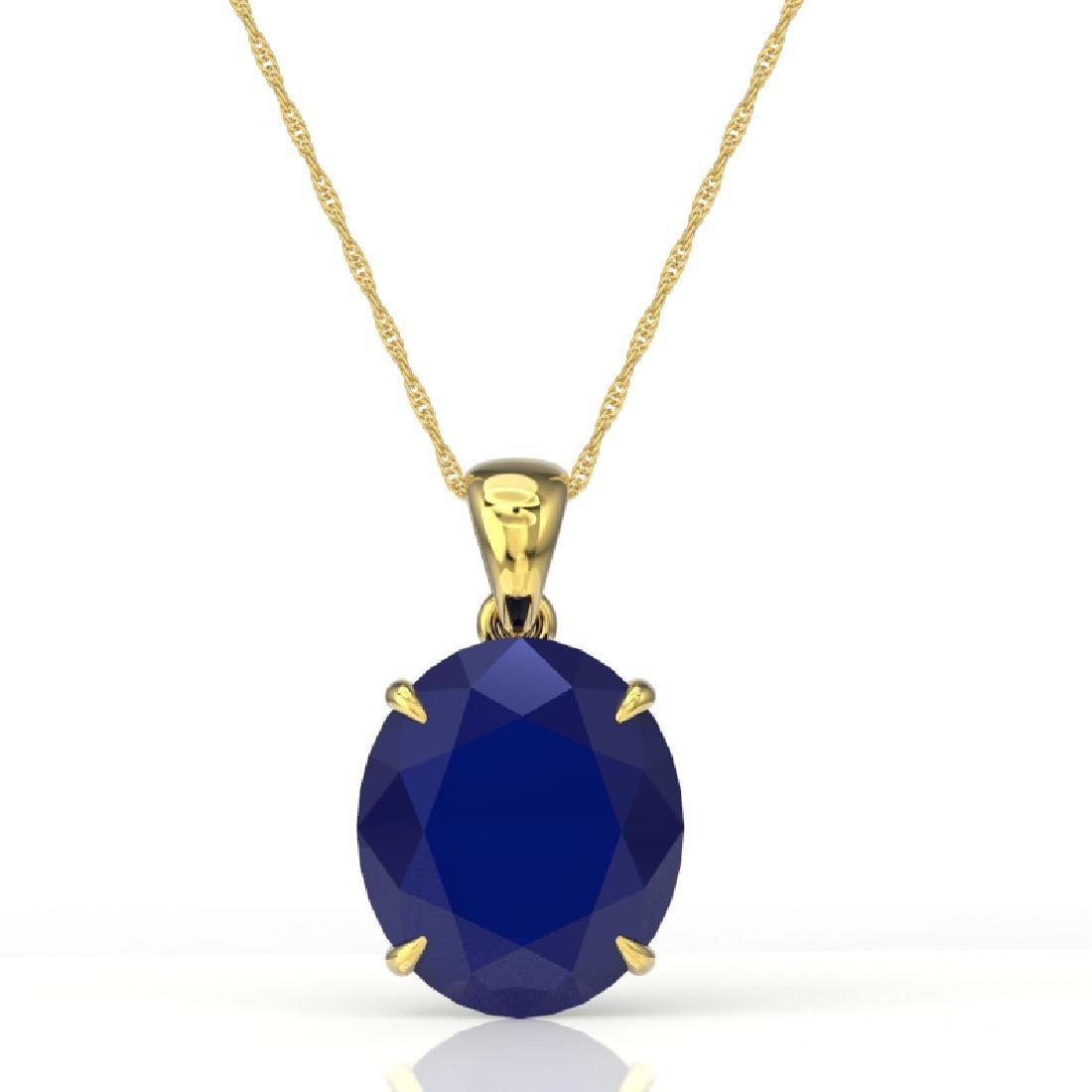 9 CTW Sapphire Designer Solitaire Necklace 18K Yellow - 2