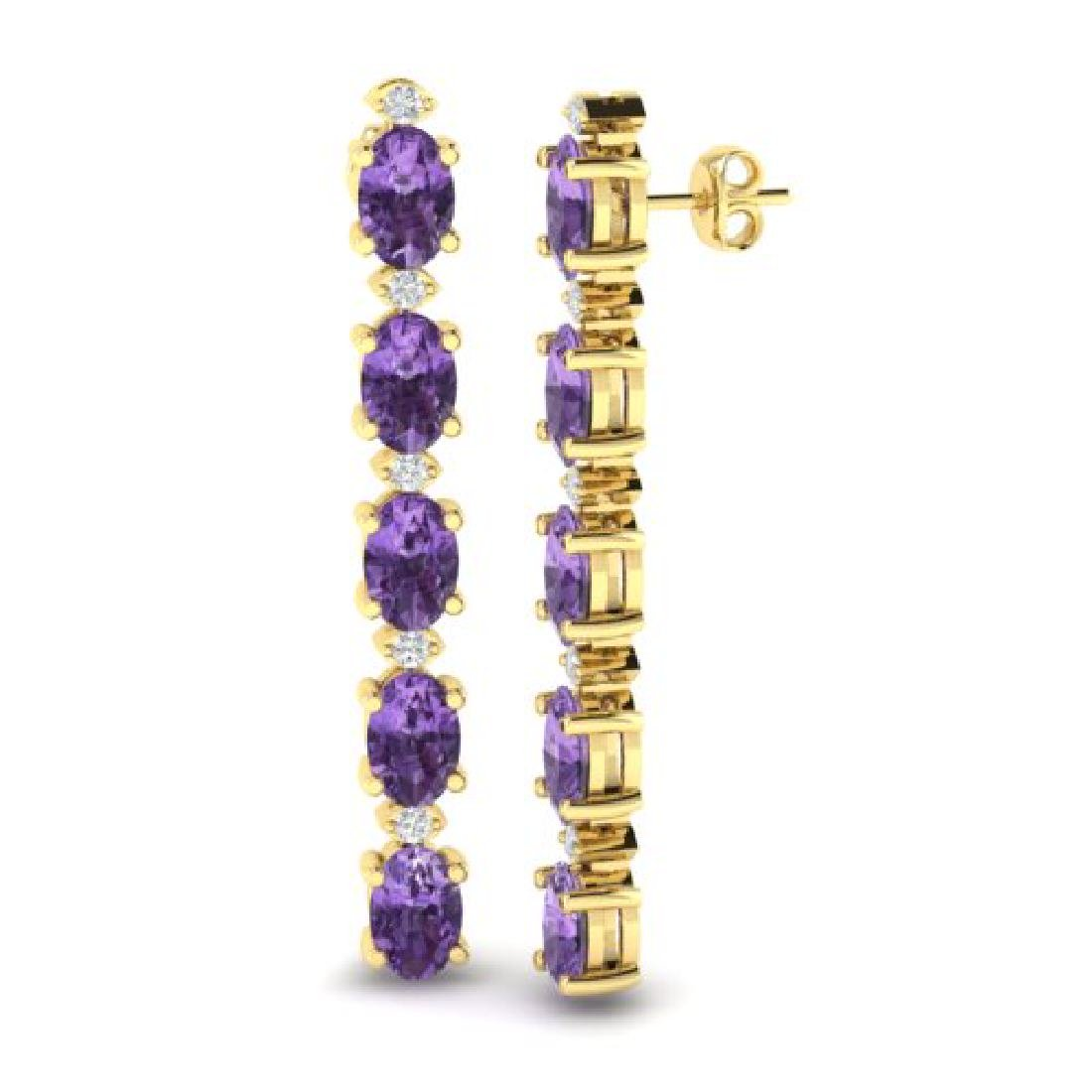 6 CTW Amethyst & VS/SI Diamond Tennis Earrings 10K - 2