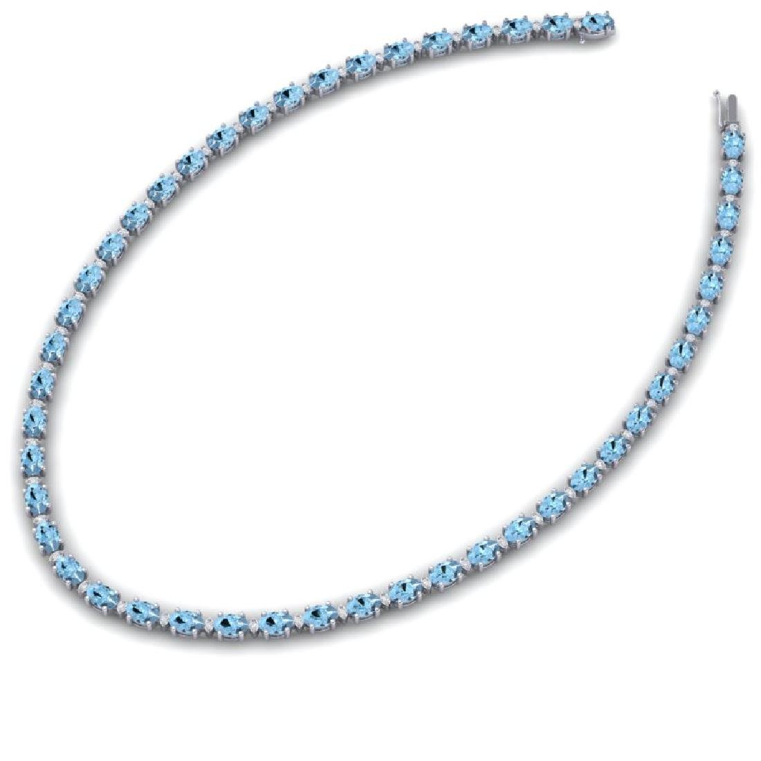 24 CTW Aquamarine & VS/SI Diamond Eternity Tennis - 2