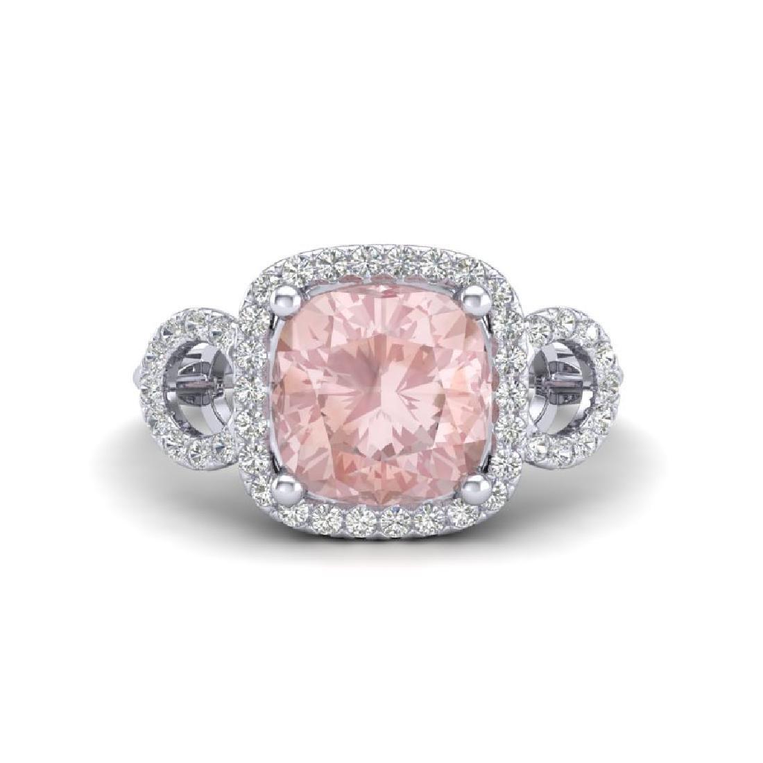 2.75 CTW Morganite & Micro VS/SI Diamond Ring 18K White