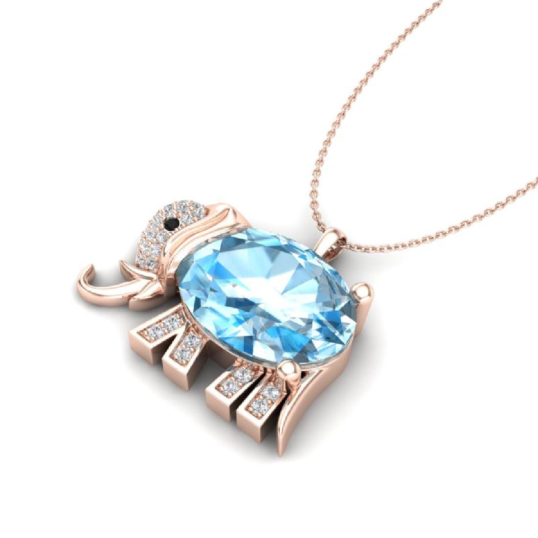 8 CTW Sky Blue Topaz & Micro Pave Necklace 10K Rose