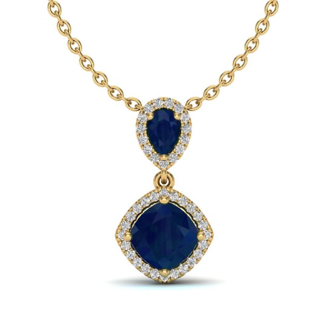3.50 CTW Sapphire & Micro VS/SI Diamond Necklace