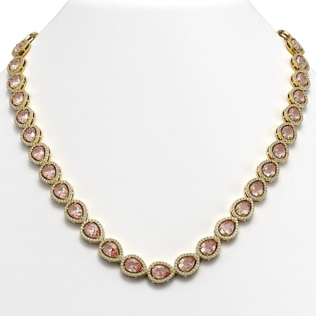 35.13 CTW Morganite & Diamond Halo Necklace 10K Yellow