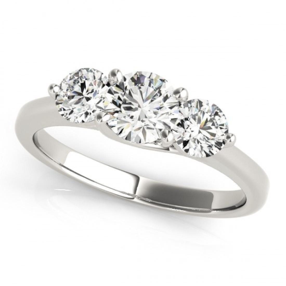 0.5 CTW Certified VS/SI Diamond 3 Stone Ring 14K White - 2