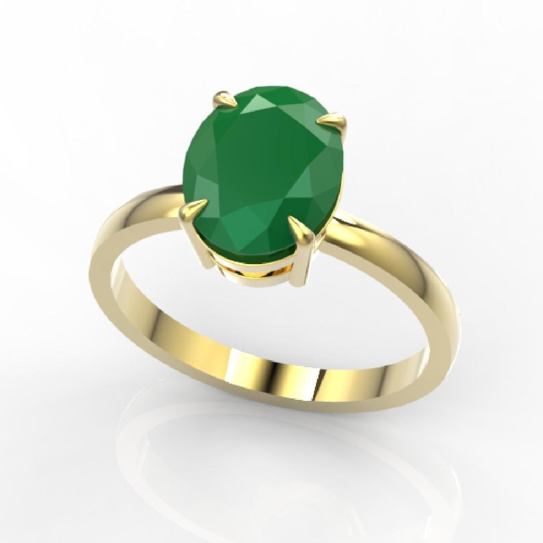 3.50 CTW Emerald Designer Inspired Solitaire Ring 18K - 2
