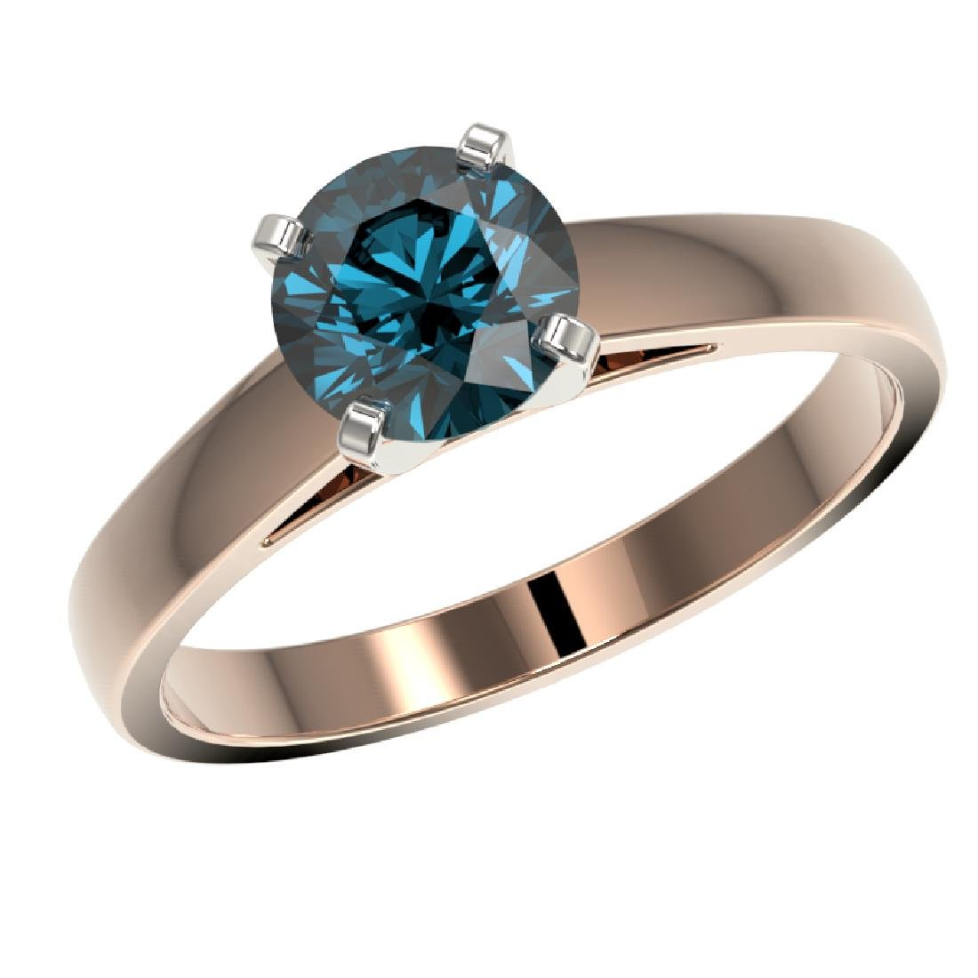 1.25 CTW Certified Intense Blue SI Diamond Solitaire - 2