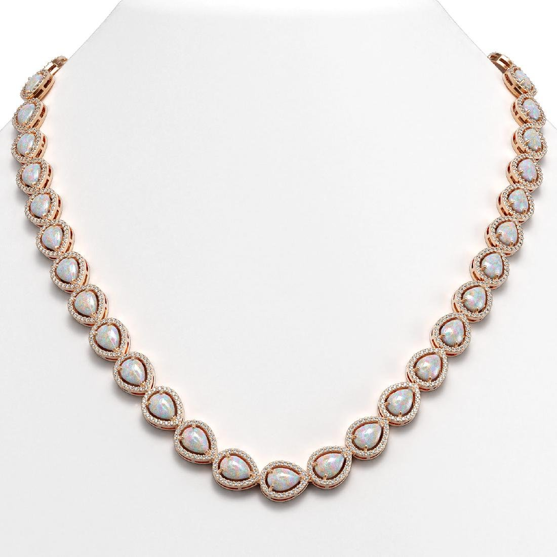 27.93 CTW Opal & Diamond Halo Necklace 10K Rose Gold