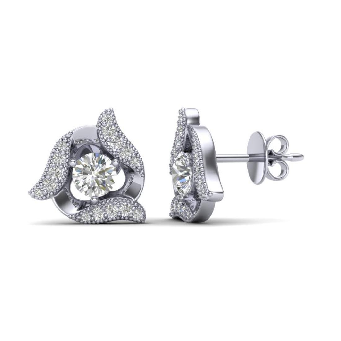 0.76 CTW Micro Pave VS/SI Diamond Halo Earrings 18K - 2
