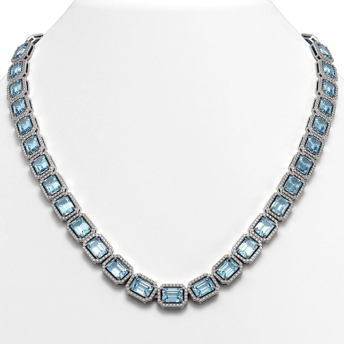 54.79 CTW Aquamarine & Diamond Halo Necklace 10K White