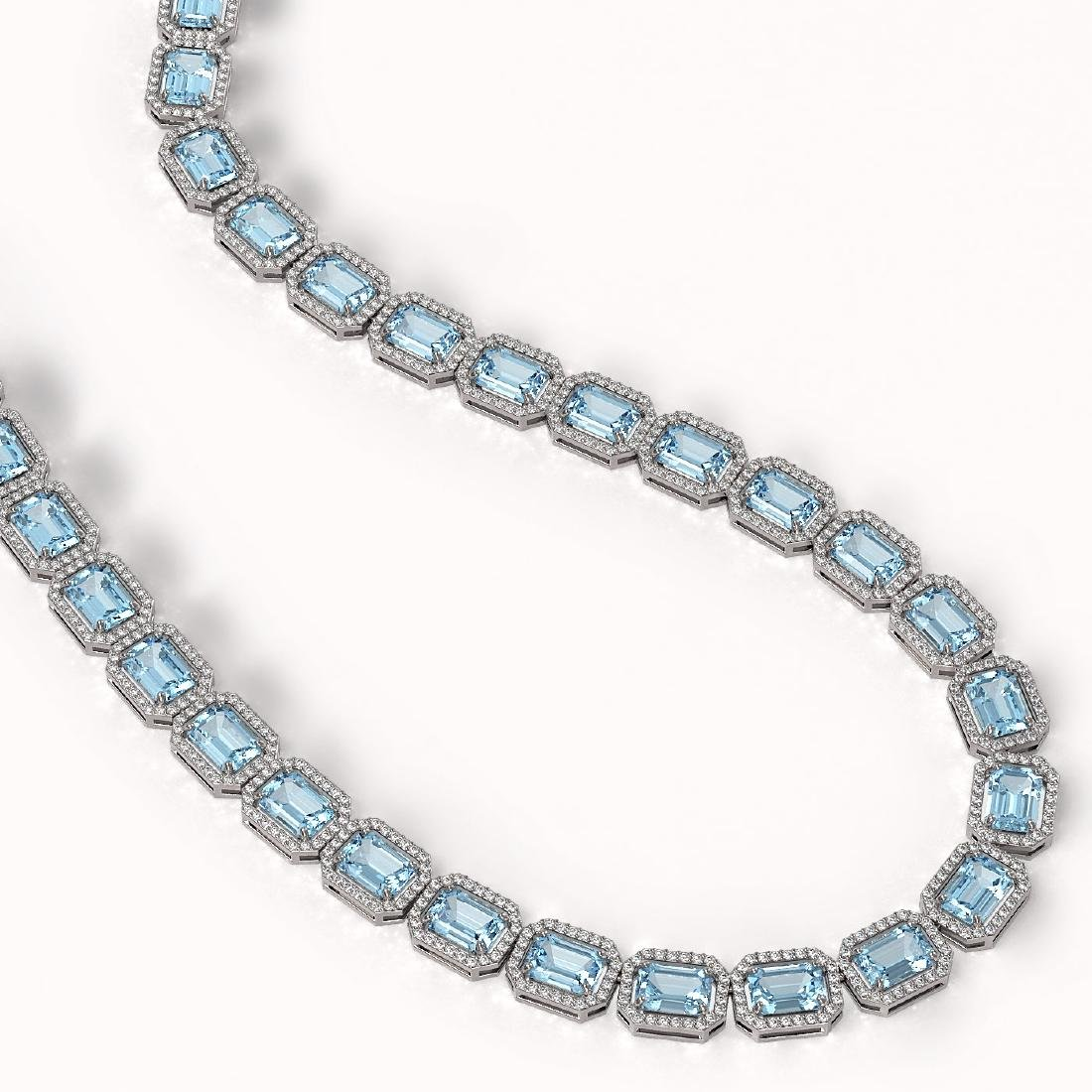 54.79 CTW Aquamarine & Diamond Halo Necklace 10K White - 2