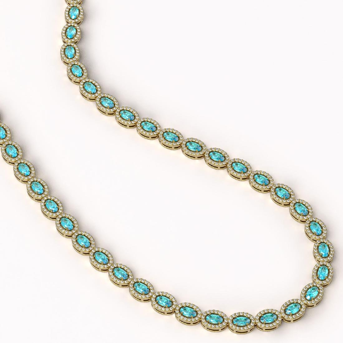 24.07 CTW Swiss Topaz & Diamond Halo Necklace 10K - 2