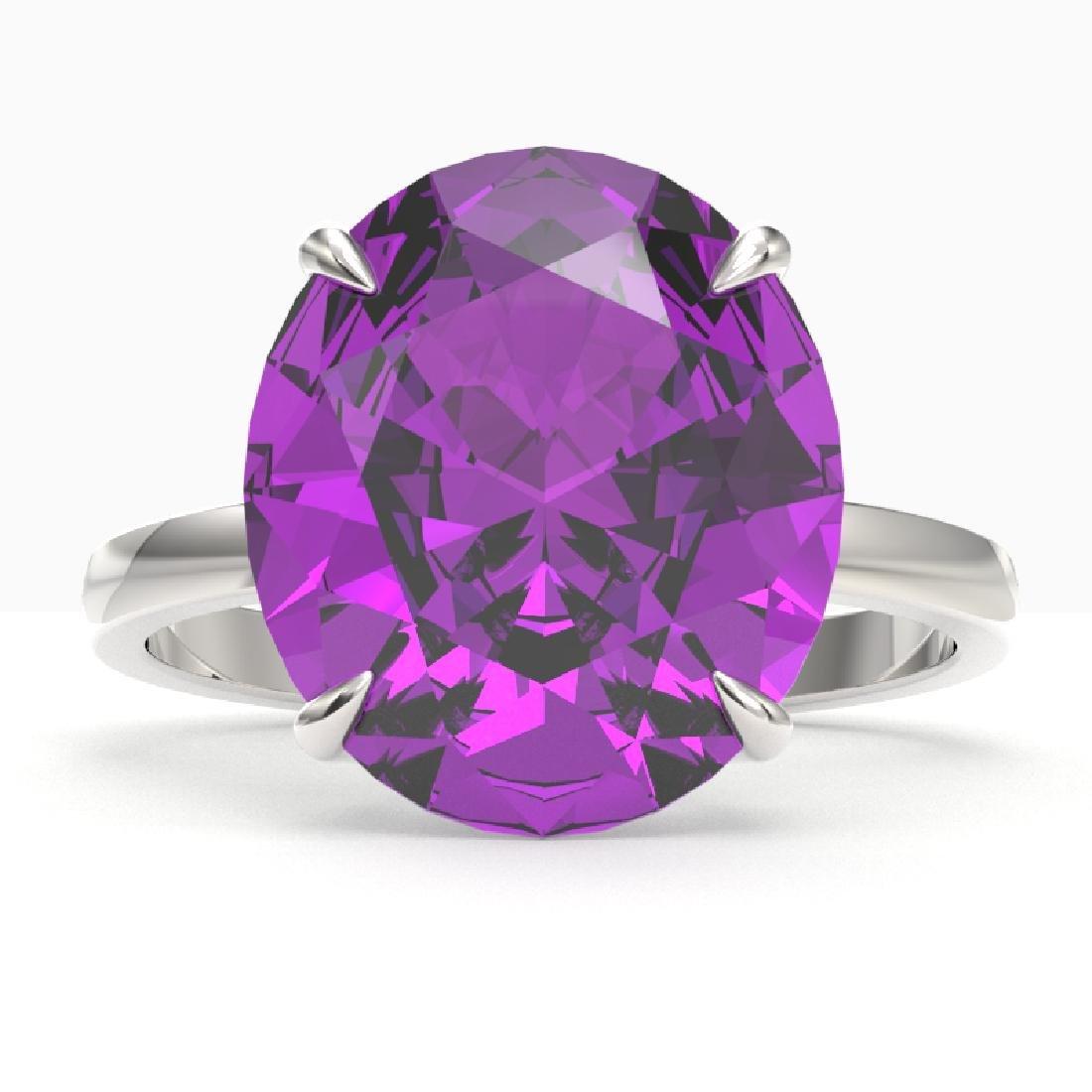 9 CTW Amethyst Designer Solitaire Engagement Ring 18K