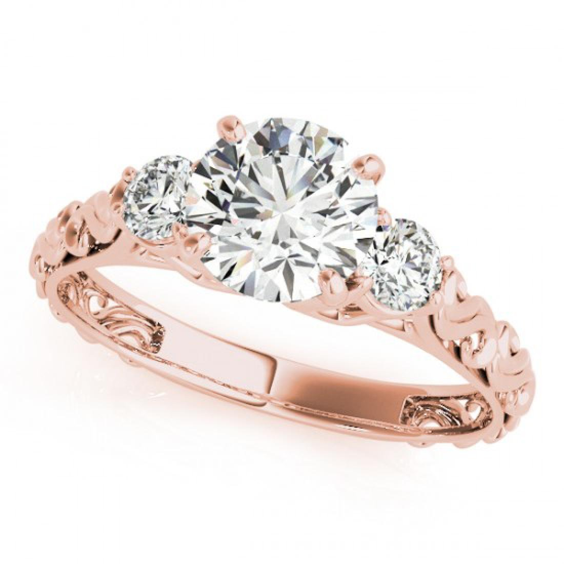 1.25 CTW Certified VS/SI Diamond 3 Stone Ring 14K Rose