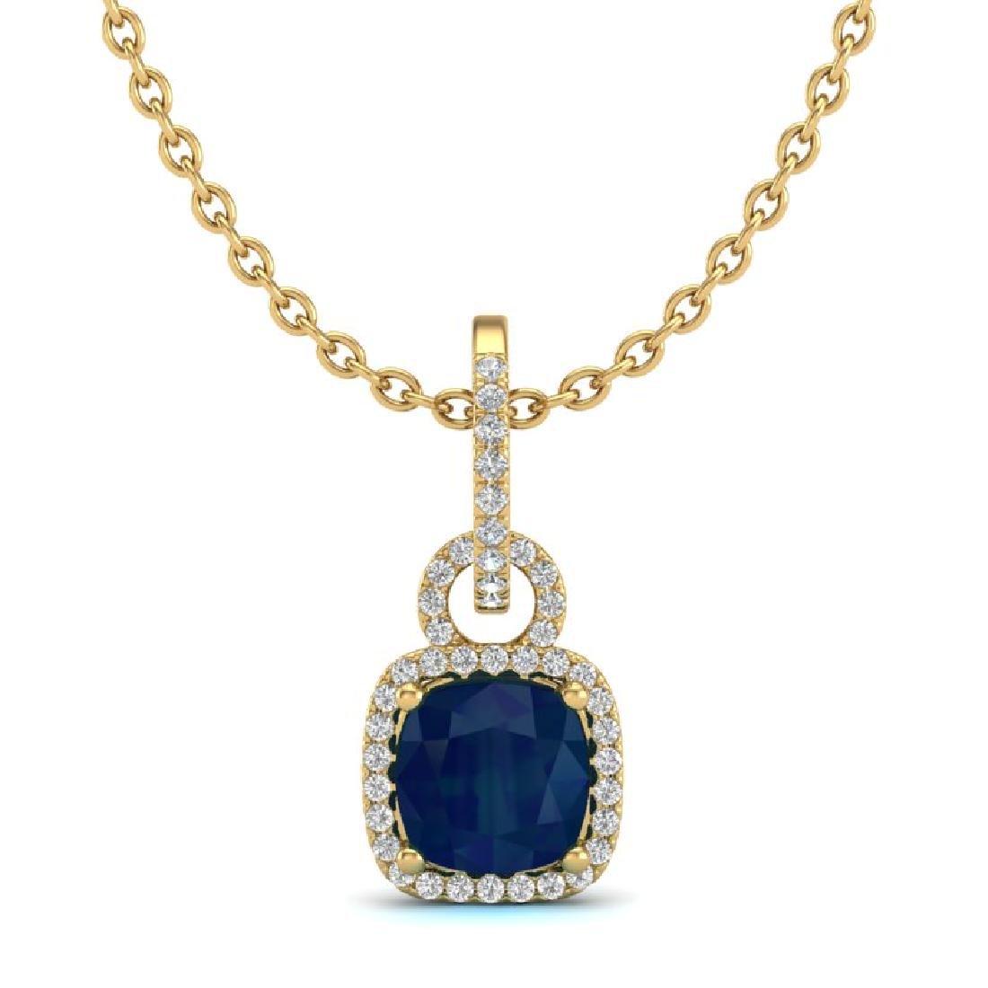 3 CTW Sapphire & Micro VS/SI Diamond Necklace 18K - 2