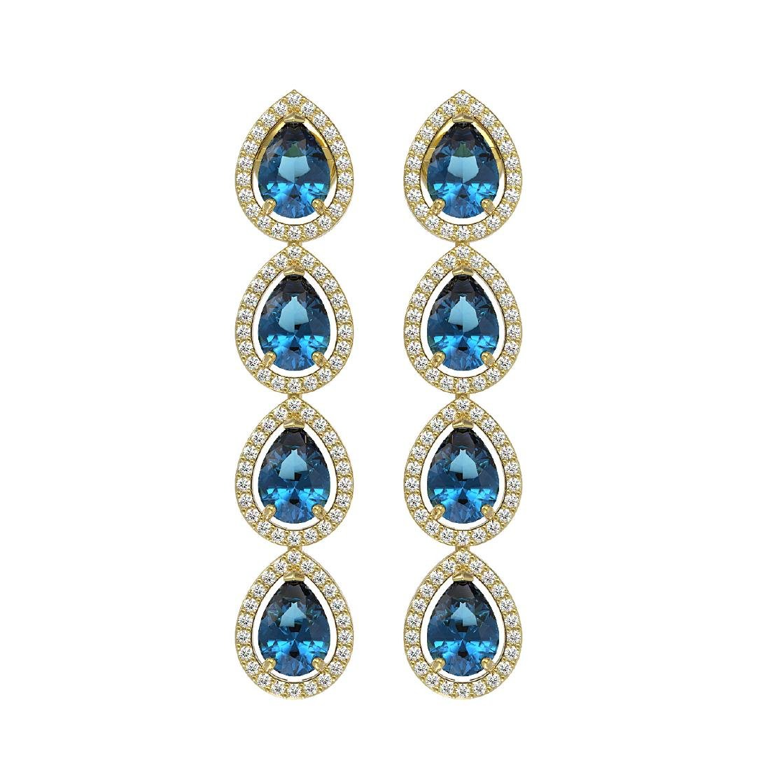 7.81 CTW London Topaz & Diamond Halo Earrings 10K