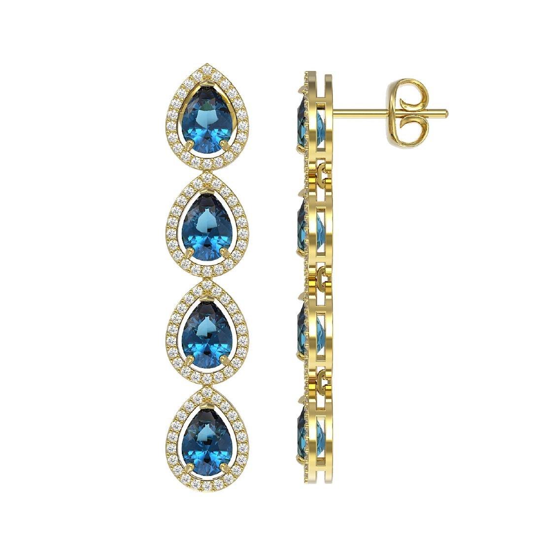 7.81 CTW London Topaz & Diamond Halo Earrings 10K - 2