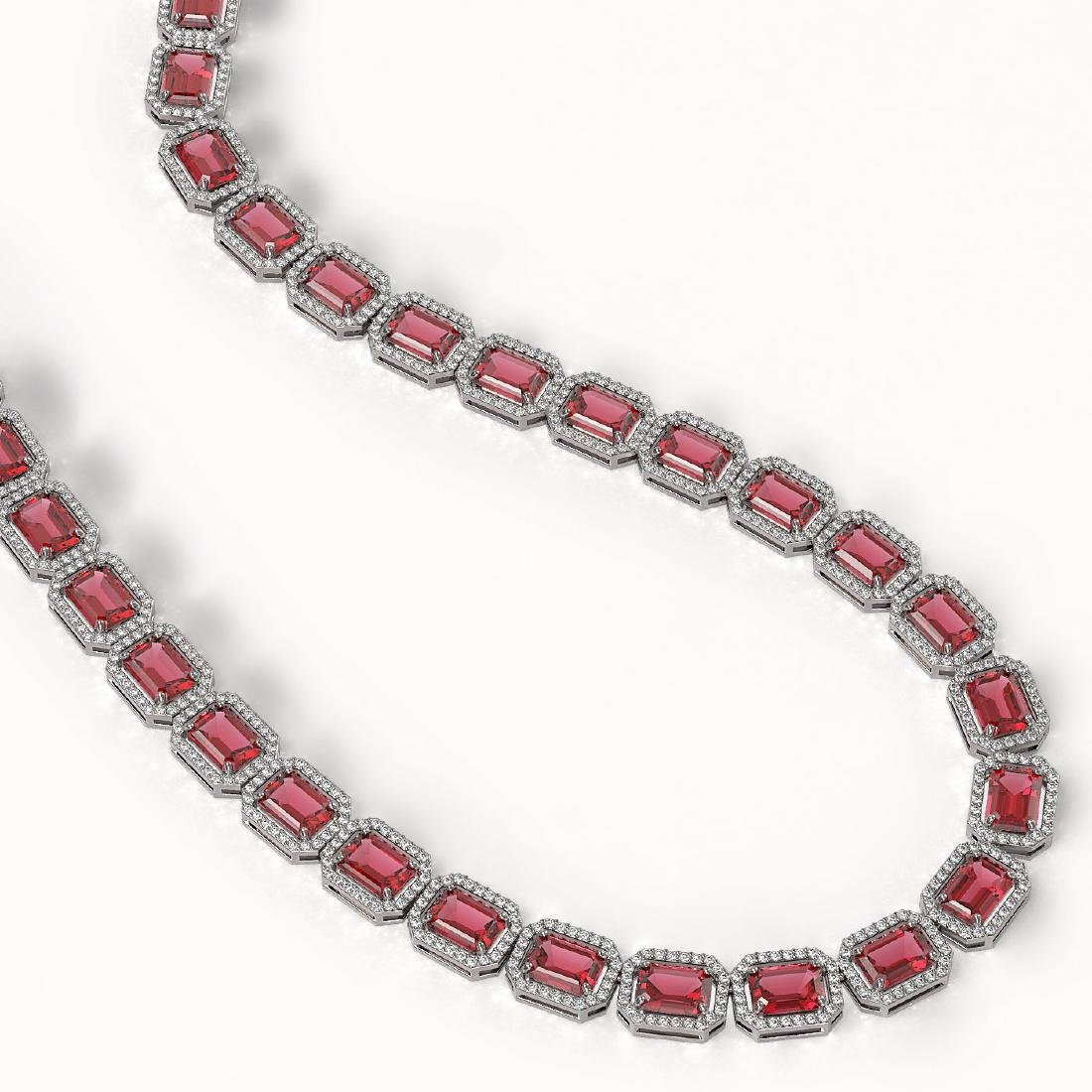 60.49 CTW Tourmaline & Diamond Halo Necklace 10K White - 2