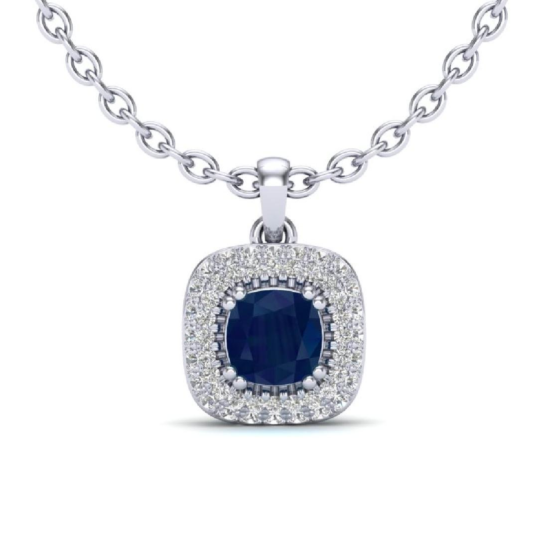1.08 CTW Sapphire & Micro VS/SI Diamond Necklace Halo