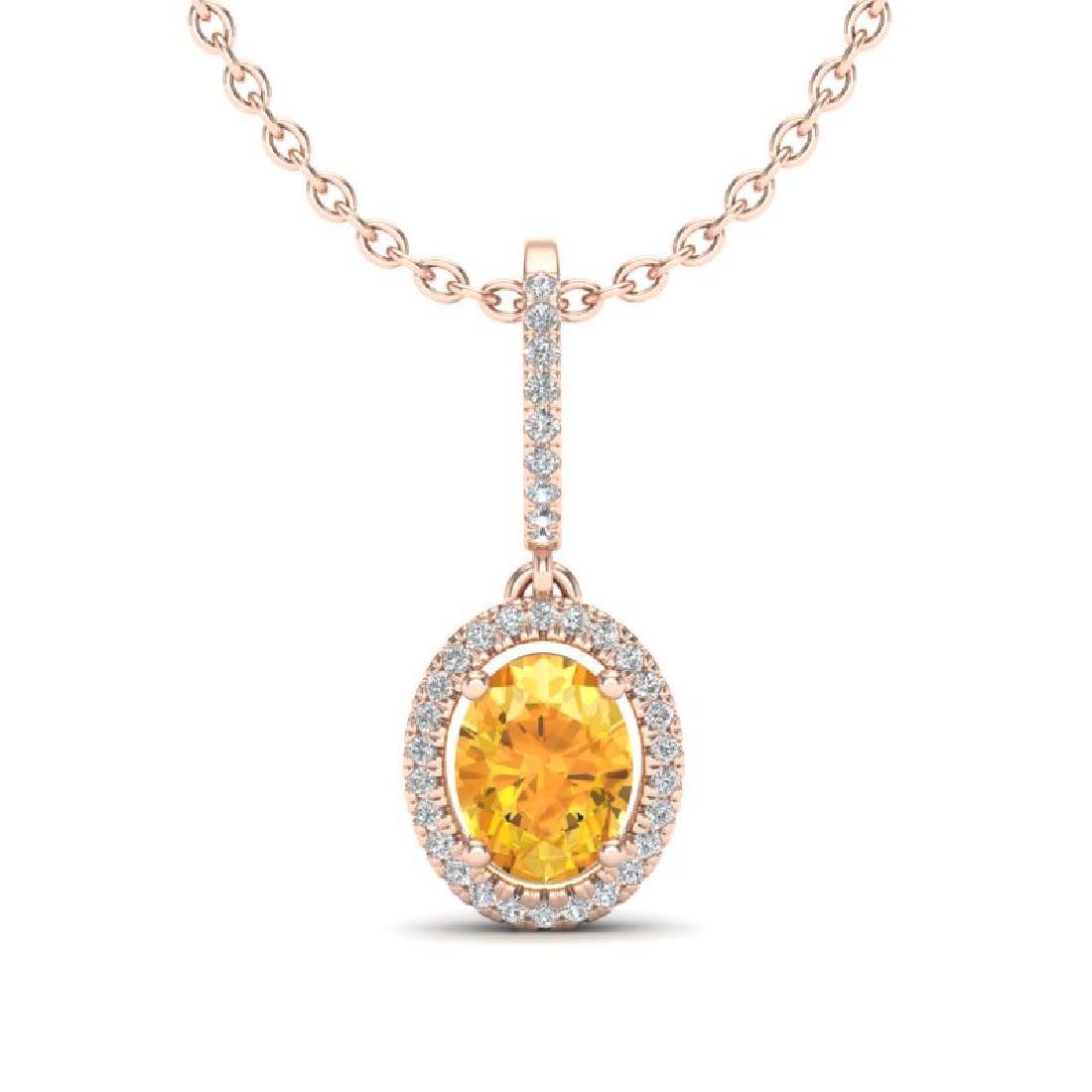 1.75 CTW Citrine & Micro Pave VS/SI Diamond Necklace